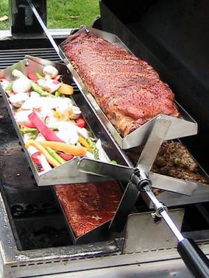 Romantic gifts for a guy - the Rib-O-Lator rotisserie (it's an attachable tray) will let him cook four things on the grill at once, meaning he'll have the most tricked-out tailgating setup ever for the rest of football season. $100 #gifts #boyfriend #husband