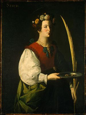 Saint Lucy - Francisco de Zurbaran; she is depicted with her symbolic attributes: her eyes on a plate and a martyr's palm.