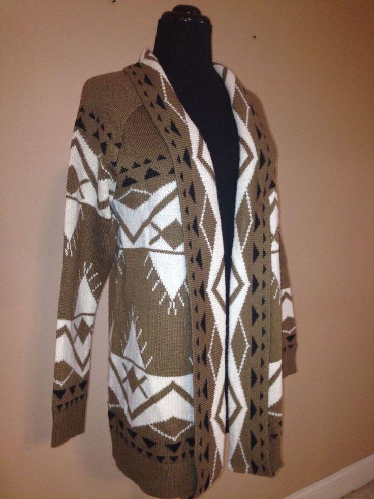 Escio Aztec Tribal Indian Design Open Front Cardigan Sweater Brown Ivory Black L #Escio #Cardigan