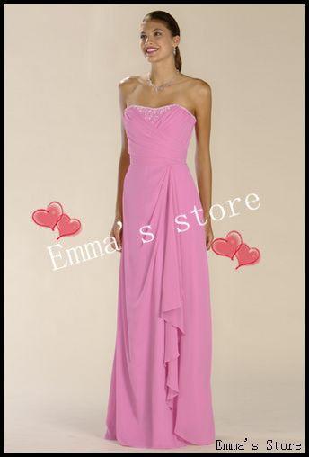 Платье для ну вечеринку по доставка качество нового дизайнера мода дешевые платье-линии без бретелек длиной до пола бисером шифон платья для подружек невесты