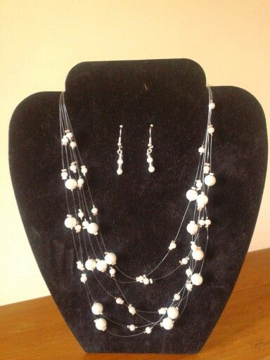 Lovely glass pearl illusion necklace and earrings.  Made to order from £16 including postage.  Available from www.facebook.com/yellowdaisydesigns