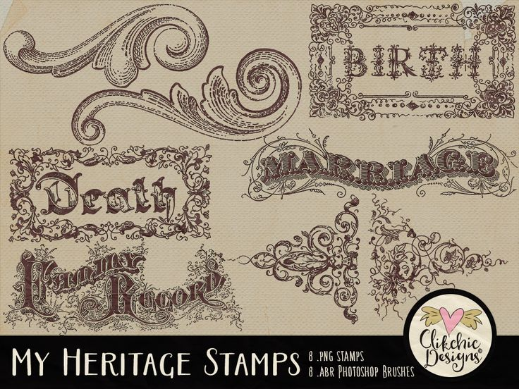 My Heritage Digital Stamps & Photoshop Brushes