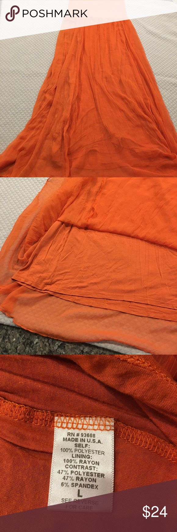 Burnt Orange Maternity Maxi Skirt Great condition // worn once // rayon, poly, spandex blend // lined with flowy outer layer // stretchy band at the top // technically maternity but could be worn by anyone // 45 inches in length max and mia Skirts Maxi