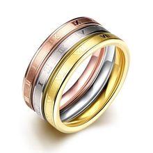 Moda rosa anel de cor de ouro conjunto gravado anéis de aço inoxidável para mulheres De Acero Inoxidable Aneis festa jóias TGR025 (China (continente))
