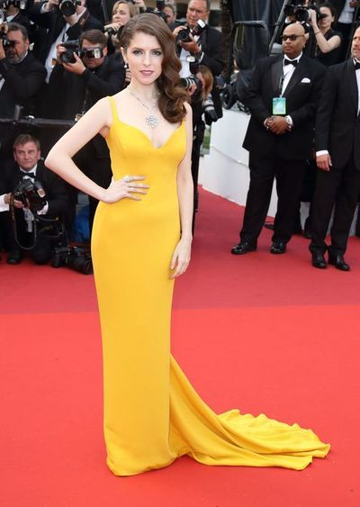 9e826fcaf13 Inspired by Anna Kendrick Celebrity Dresses Yellow Mermaid Straps Evening  Prom Dress