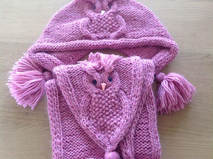 Een gebreide muts en sjaal voor kleindochter. Een mooi uiltjes patroon.