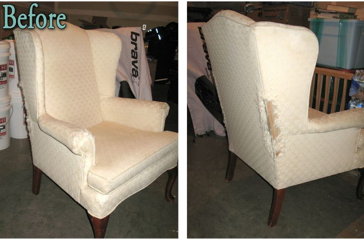 Great directions on how to recover a chair: Vintage Blossom Wingback Chair