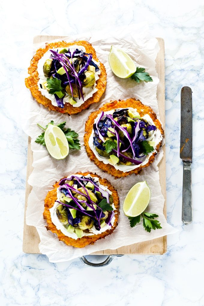 Gluten Free carrot taco shells with roasted brussels sprouts, avocado and purple cabbage - vegetarian taco recipe - Tacos carote, cavoletti avocado e fresco spalmabile Nonno Nanni