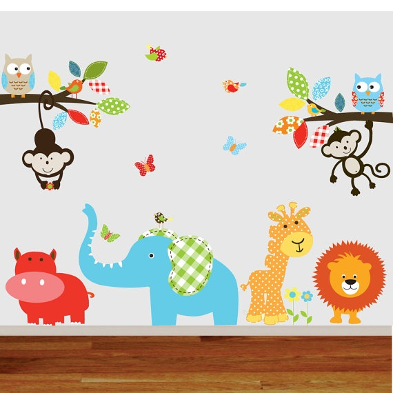 Childrens Wall Decal Jungle Safari Branch Set Monkeys Elephant Giraffe Vinyl Wall Decals Nursery