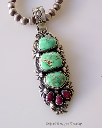 Turquoise and spiny oyster pendant