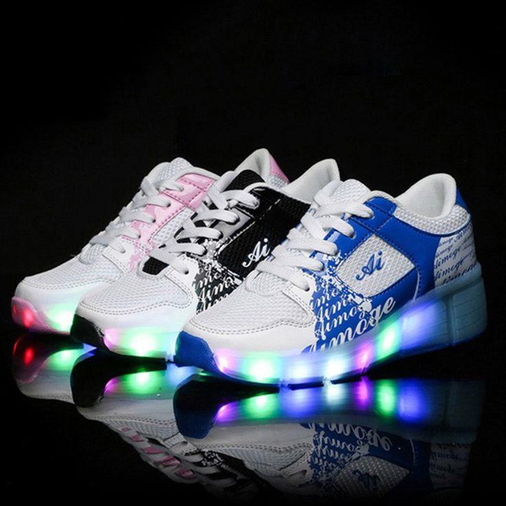 НОВЫЕ Дети Колеса Обувь С LED Подсветкой Сетки Дышащий Дети Ролик Обуви Мальчики Девочки Мода Повседневная Колесо Кроссовки розовый #hats, #watches, #belts, #fashion, #style