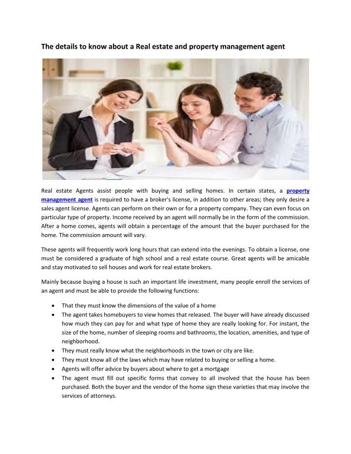 The details to know about a Real estate and property management agent - property management job description