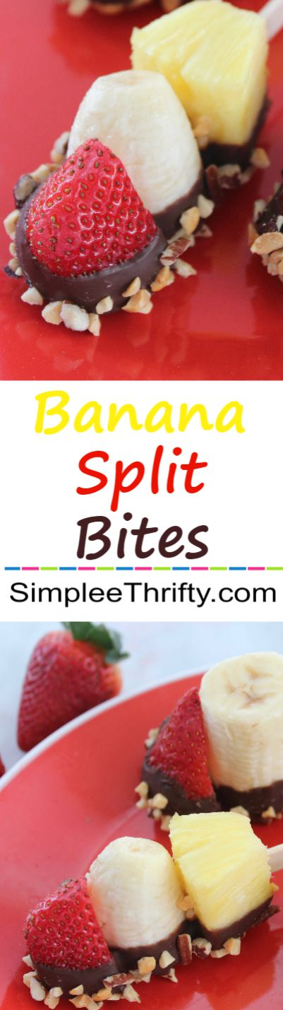 Banana Split Bites - Quick and easy summer treat.  The Ultimate Pinterest Party, Week 48