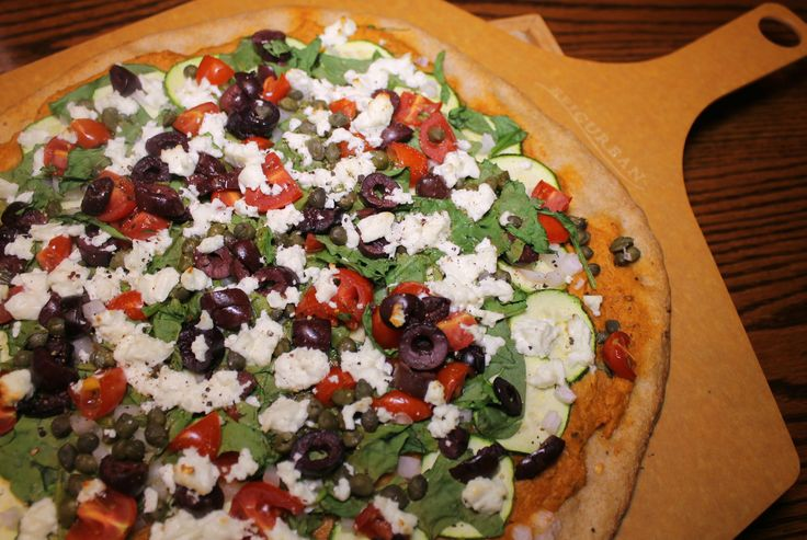Greek Veggie Pizza with Whole Wheat Dough SoyandSugar.com
