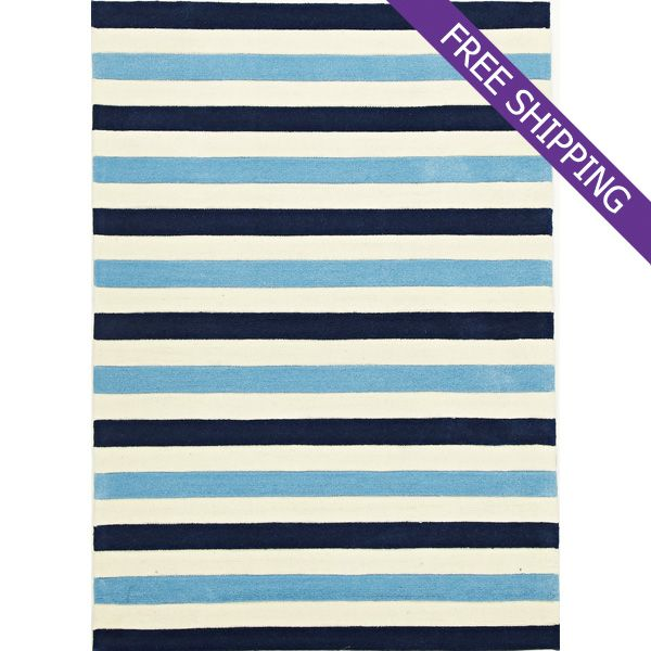 Kids Floor Rug Blue Stripes