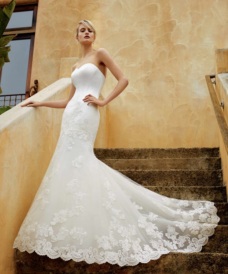 BT16-6 #2016Beautiful by Enzoani collection! Smooth satin bodice, gorgeous corded hem lace train, and sweeping mermaid skirt! - Enzoani 2016 Wedding Dresses | itakeyou.co.uk