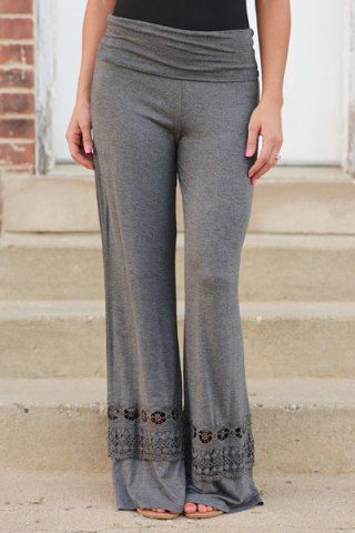 Stylish Elastic Waist Solid Color Hollow