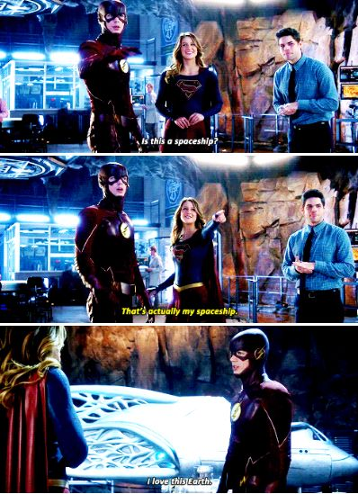 I love this Earth. Supergirl/The Flash