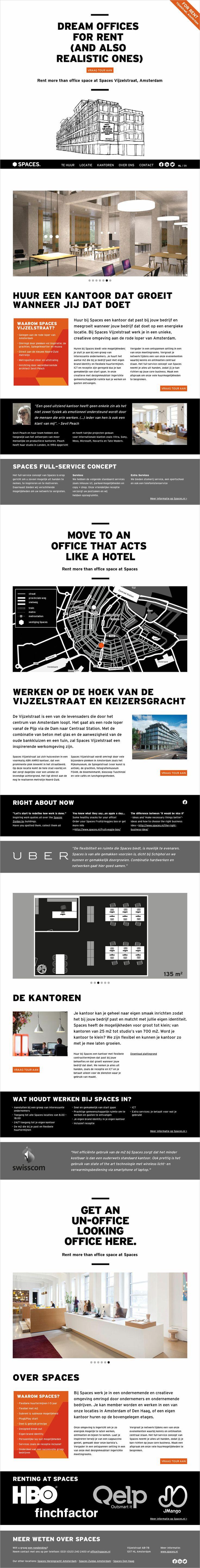 One-page website voor Spaces Vijzelstraat, Amsterdam