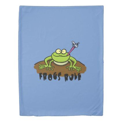 Cool cartoon frog design for bed cover. duvet cover - boy gifts gift ideas diy unique