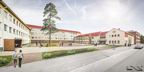Illustration of Alere-building in Palosaari Campus (estimated time of completion January 2017).