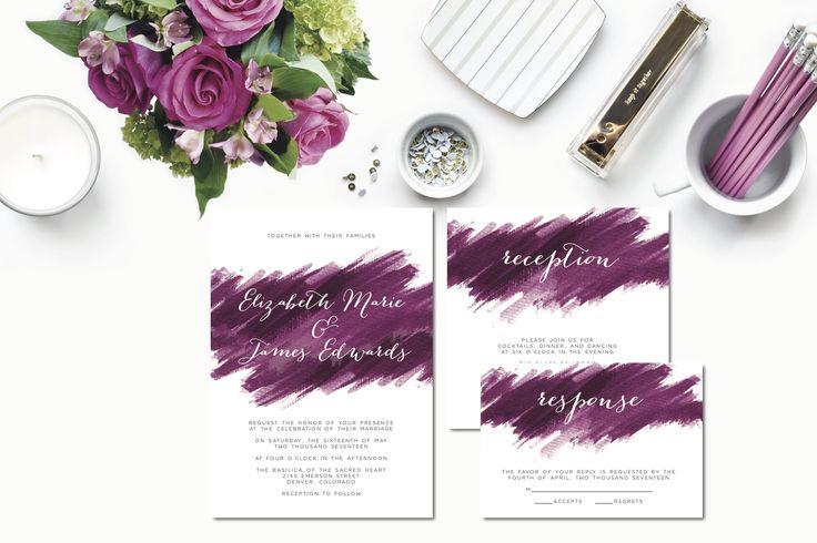 Fuchsia Brushstroke Wedding Invitation Suite   Autumn Plum   Winter Wedding   Watercolor