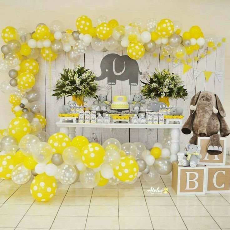 Yellow Baby Shower Ideas Cute Yellow And Gray Elephant Baby
