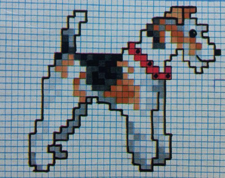 Dit borduurpatroon vanhet hondenras Fox Terriër borduur je met 3 afgesplitste draadjes splijtgaren over twee weefseldraden op tien draadjes kaaslinnen. …