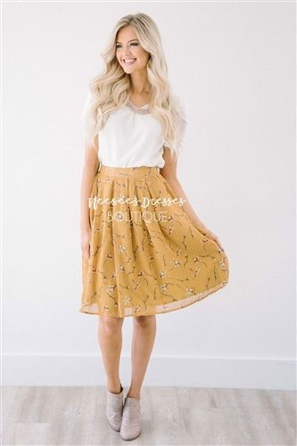 cccbd8ddd7 Fall Mustard Floral Aline Pleated Skirt | Shop NeeSee's Dresses ...