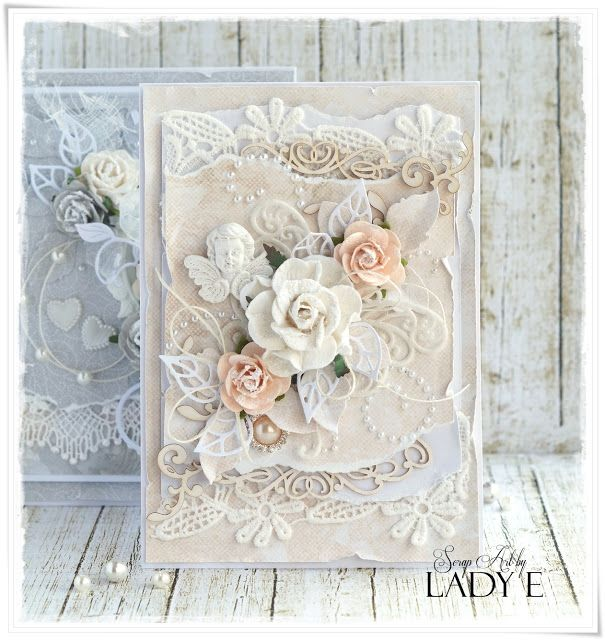 Scrap Art by Lady E: Shabby Chic Wedding Cards - Wild Orchid Crafts DT