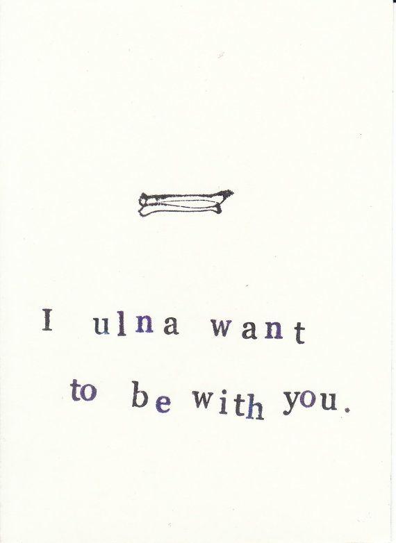 Funny Stamped Skeleton Anatomy Card Ulna by ModDessert on Etsy, $2.00