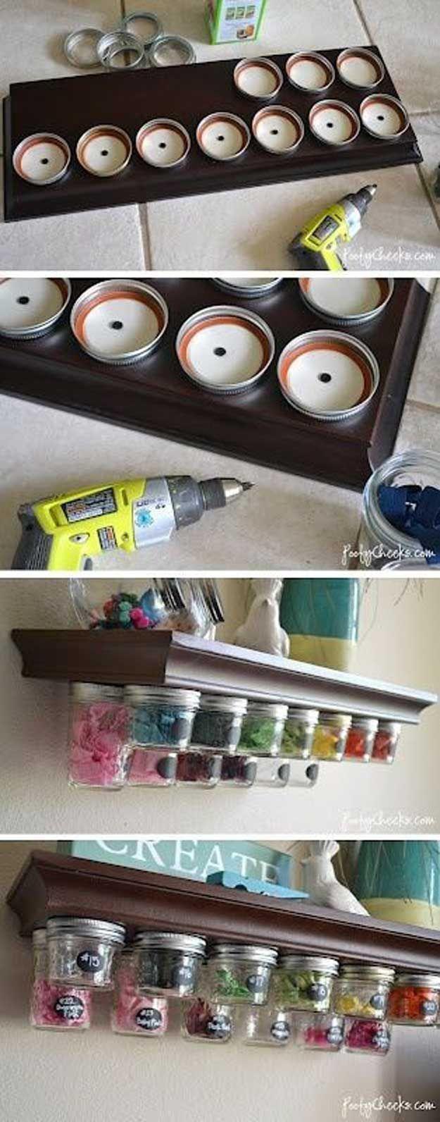 Mason Jar Storage Shelf | 15 Sewing Room DIY Organization