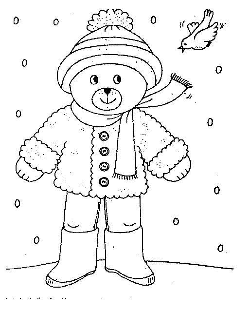 Kleurplaat Winterkleding