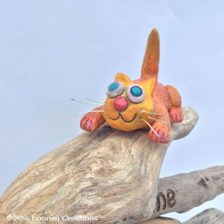 Ceramic cat sculpture on driftwood.Made in Ireland cat art.Pottery.Welcome,house warming, birthday gift planter decoration. by LooneyCreationsShop on Etsy