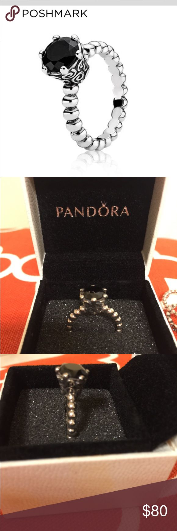 Pandora Secret Wind Black Spinel This ring is discontinued, sterling silver , stone Spinel . Like new . Size of ring 7.5 Pandora Jewelry Rings