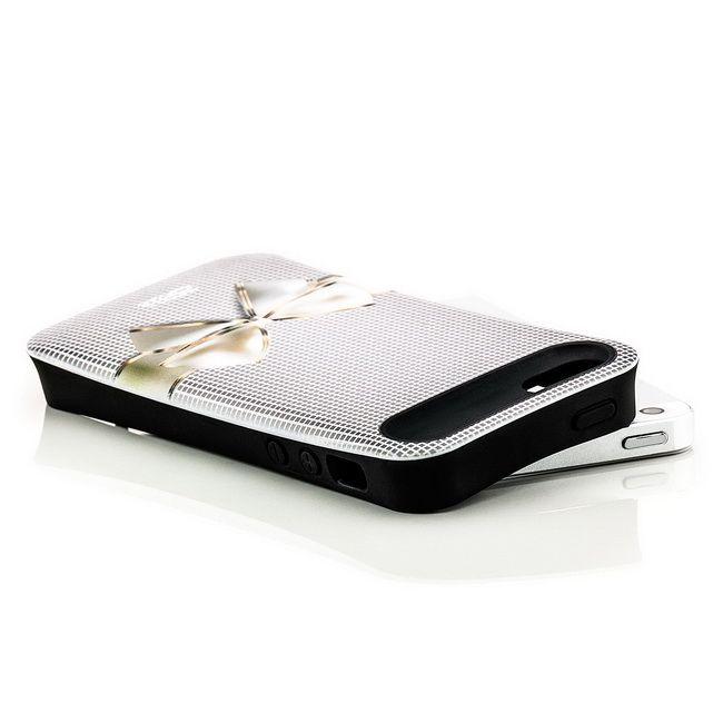 Shell Style Back Cover für Apple iPhone 5 & 5S Schleife Weiß