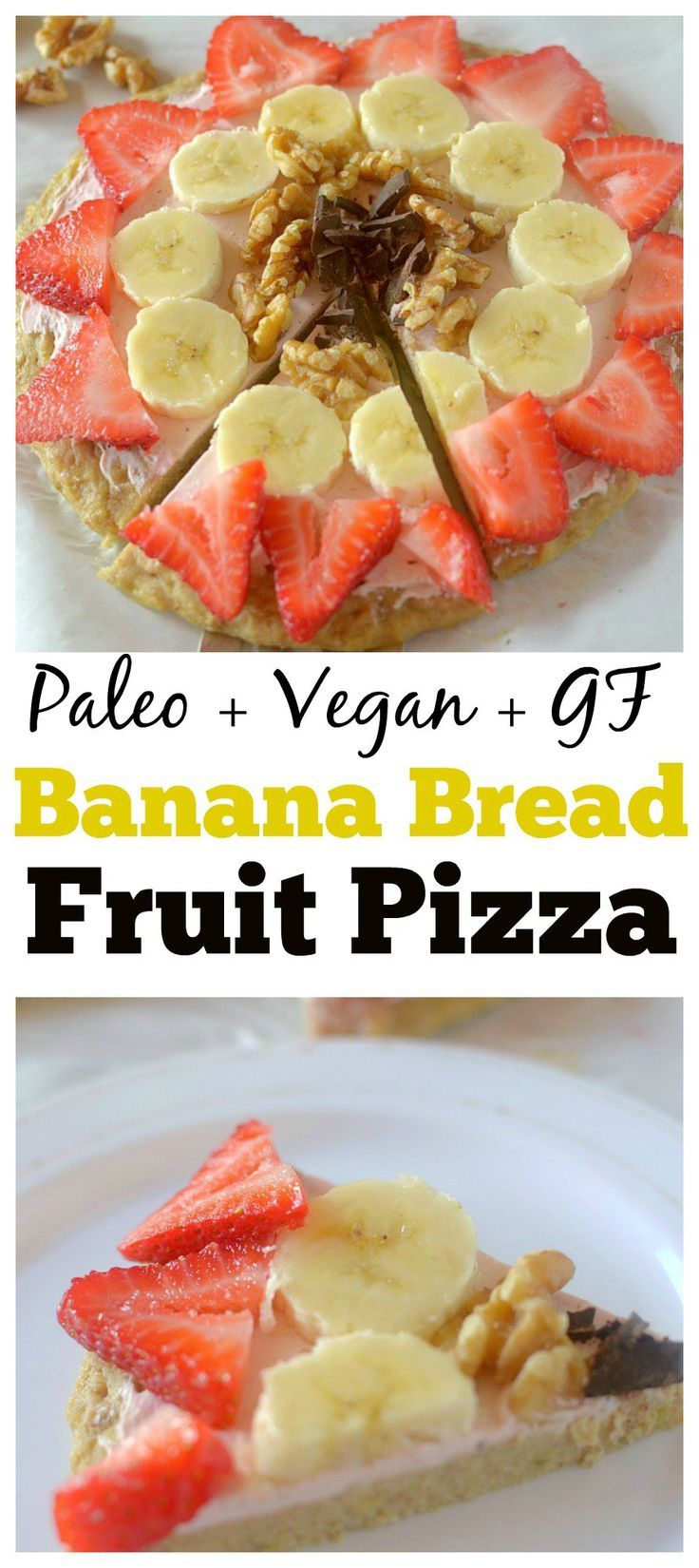 This Healthy Banana Bread Fruit Pizza is a delicious dessert, breakfast or snack! It has a banana bread-like crust and is topped with a strawberry cream cheese frosting, fruit, nuts and chocolate. It is completely gluten-free, paleo and has a vegan option