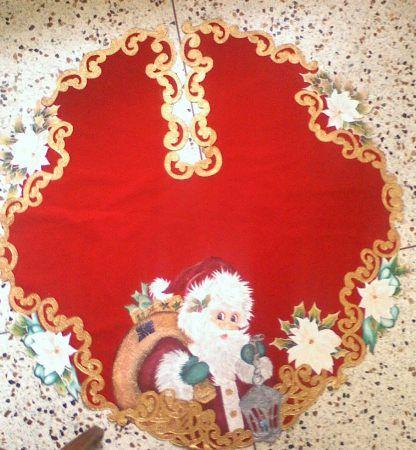 Santa con farol y ponsetias 120 bs