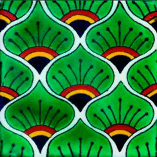 DE03 Mexican Talavera Tile Mosaic 4x4 Tiles Clay Tile Coaster Mural Ceramic Handmade 90 Tiles - $135 with shipping