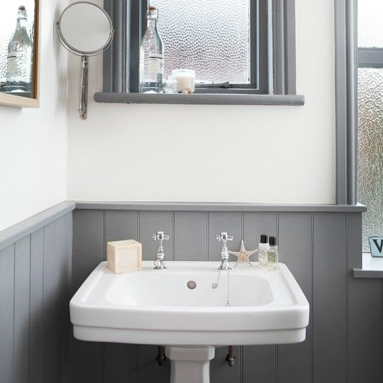 White and grey bathroom with traditional basin | Bathroom decorating | housetohome.co.uk | Mobile