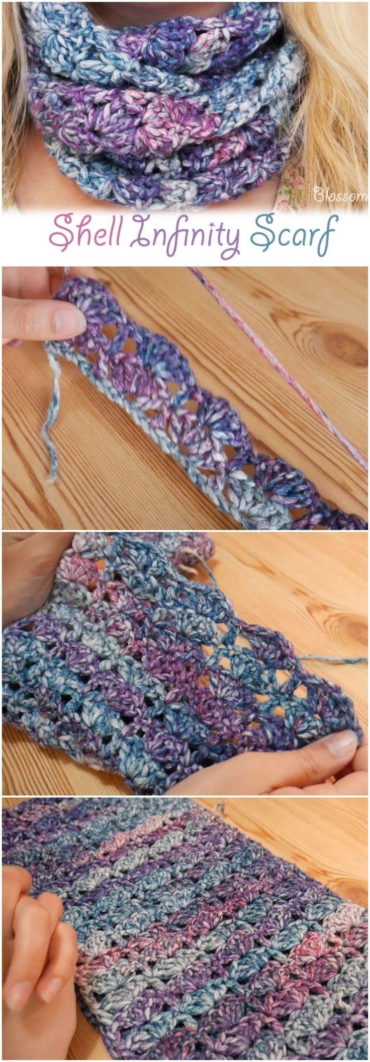 Crochet Shell Infinity Scarf Free Instructions
