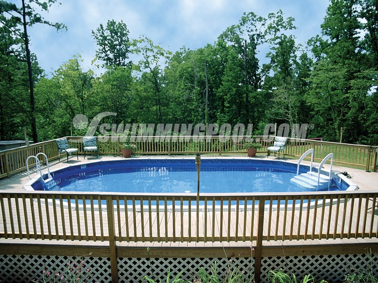 Above ground with wooden deck pool area pinterest for Above ground pool decks with lattice