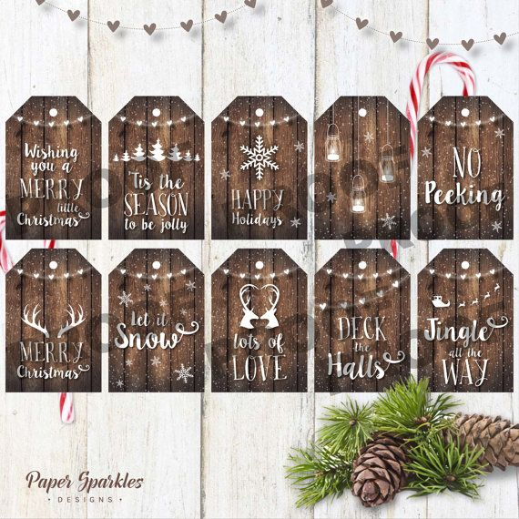 Christmas tags rustic tags Printable by PaperSparkleDesigns