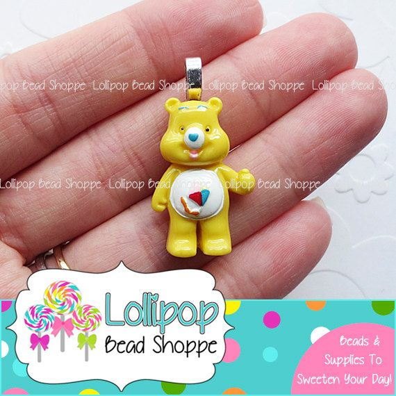 YELLOW Care Bears Pendants Flat Back Resin Cabochon w/ Bails 2ct Care Bear Acrylic Chunky Necklace Pendants Bubblegum Beads Bubble Gum Beads by LollipopBeadShoppe, $2.95