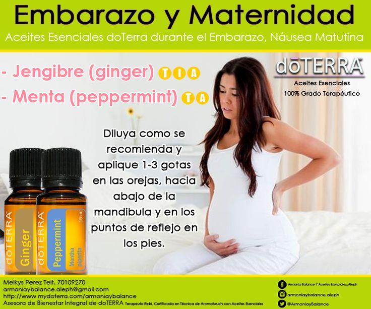 """Náusea Matutina La náusea matutina es la sensación de náusea que acompaña al primer trimestre del embarazo para muchas mujeres. La náusea matutina a menudo puede incluir vómitos. Para la mayoría de las mujeres, la náusea matutina comienza alrededor de la sexta semana de embarazo y termina alrededor de la duodécima semana. Aunque se le llama náusea """"matutina"""", los síntomas pueden ocurrir en cualquier momento durante el día. Aceites - Jengibre (ginger) - Menta (peppermint)"""