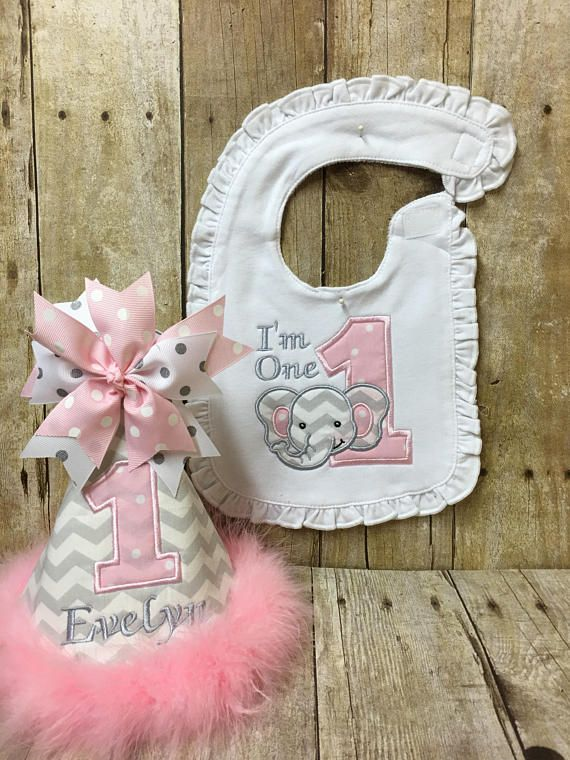 First Birthday Hat With Matching Bib Large Number One And Elephant Applique An Adorable Combo To Help You Celebrate Y