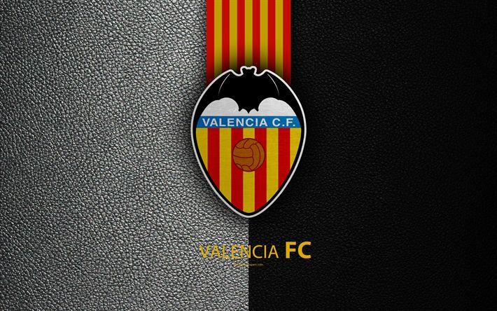 Download wallpapers Valencia FC, 4K, Spanish football club, La Liga, logo, Valencia emblem, leather texture, Valencia, Spain, football