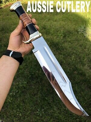 """Particulars about 18"""" AUSSIE CUSTOM HANDMADE D2 HUNTING CROCODILE DUNDEE HIGH POLISH BOWIE KNIFE"""
