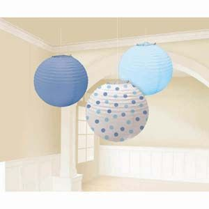 A241023 - Lanterns Blue Assorted - Pack of 3 Lanterns Blue  Assorted Blue & Dots (24cm Diameter) Paper - Pack of 3  Please note: approx. 14 day delivery