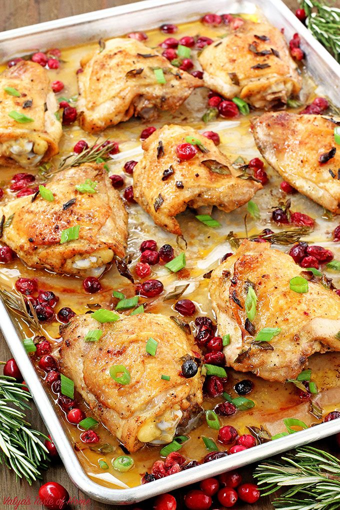 This Rosemary Cranberry Baked Chicken Thighs Recipe Is The Perfect Addition To Your Holiday Table That Satis Recipes Chicken Thigh Recipes Best Chicken Recipes